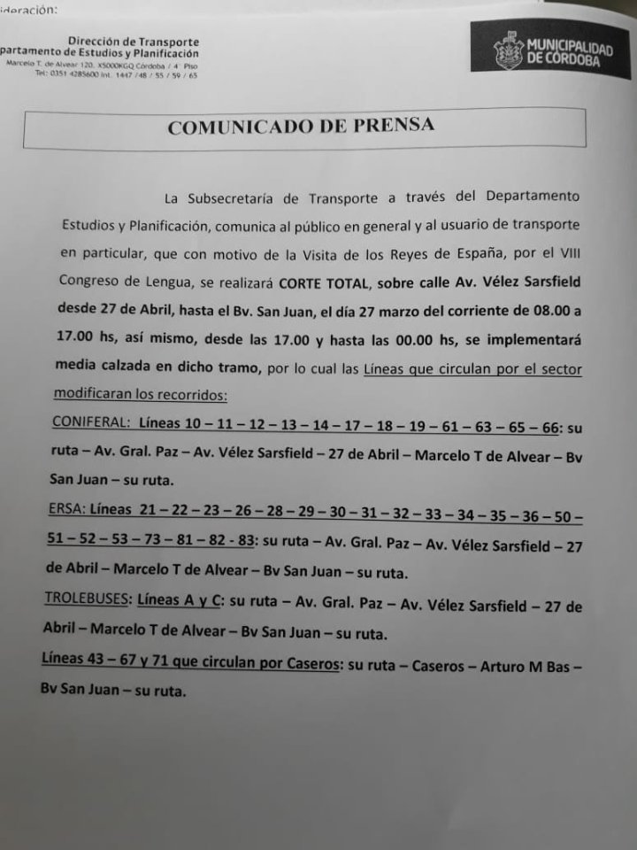 desvios de transito por congreso de la lengua, líneas de colectivo afectadas