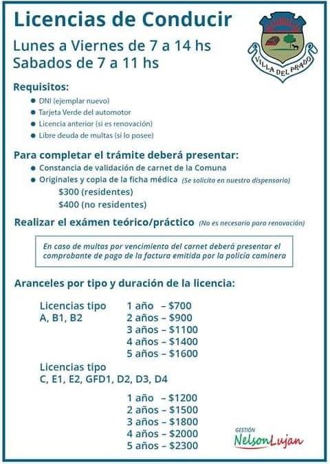 Licencia de conducir Comuna Villa del Prado Cordoba
