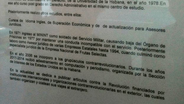 """Details biography of Hildebrand Chaviano. The last two paragraphs read: """"In 2006 he joined the little counterrevolutionary groups. From 2011-2014 he received training in computers and journalist, organized by the United States Interest Section in Havana. Currently he dedicates himself to publishing articles against the Revolution financed by international organizations and counterrevolutionary organizations abroad, who have also organized and paid for his trips abroad."""