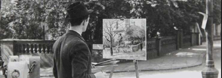 Marek Zulawski painting in the street, 1937