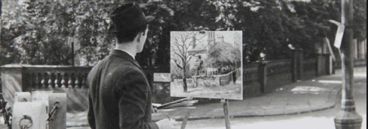 Marek Zulawski painting in the street, 1937