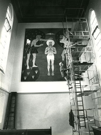 Marek Zulawski painting 'The Baptism of Jesus Christ' in Our Lady's Church in St John's Wood in 1982