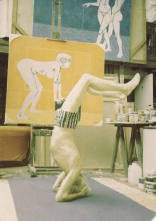 Marek Zulawski during his morning yoga routine, 1982