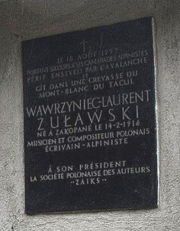 A plaque in Chamonix honouring Wawrzyniec Zulawski - he died in an avalanche on nearby Mont Blanc.