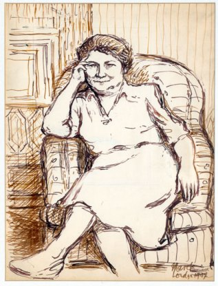 Drawing of Kazimiera Zulawska by Marek Zulawski, 1947, University Museum in Torun