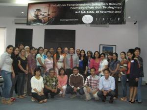 The training participants with Evand Halim (at the center, wearing a red tie)