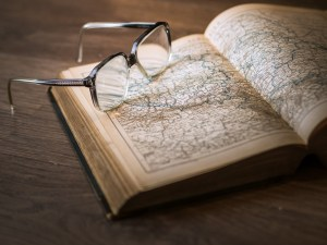 Book, spectacles, glasses
