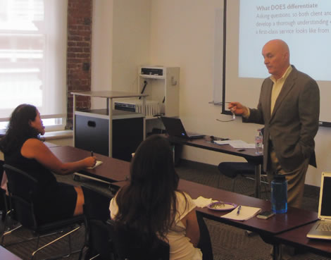 Andrew Crawford presenting the Selling Yourself workshop.