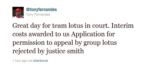 Tweet posted by Tony Fernandes at 8:42am this morning (Jun 23rd 2011)