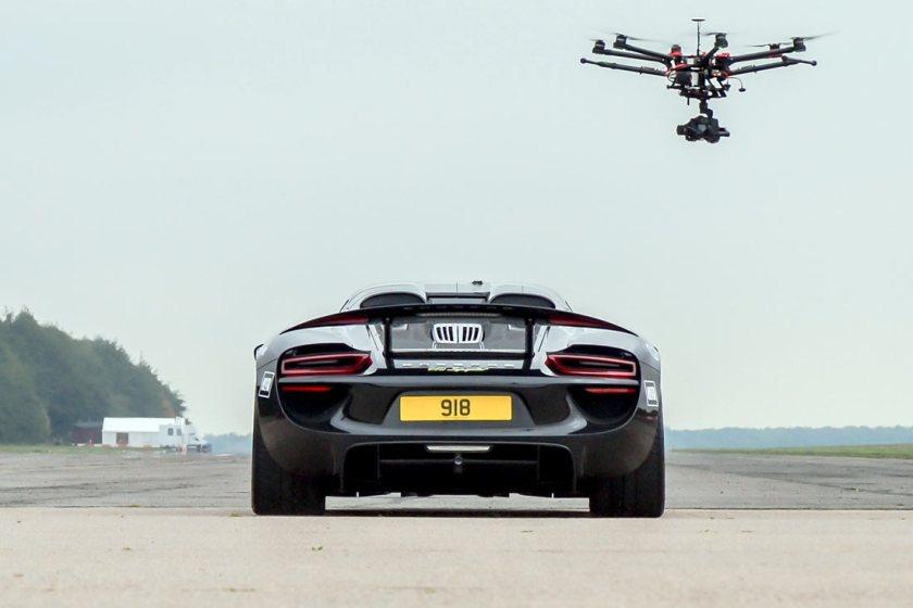 Porsche 918 with drone