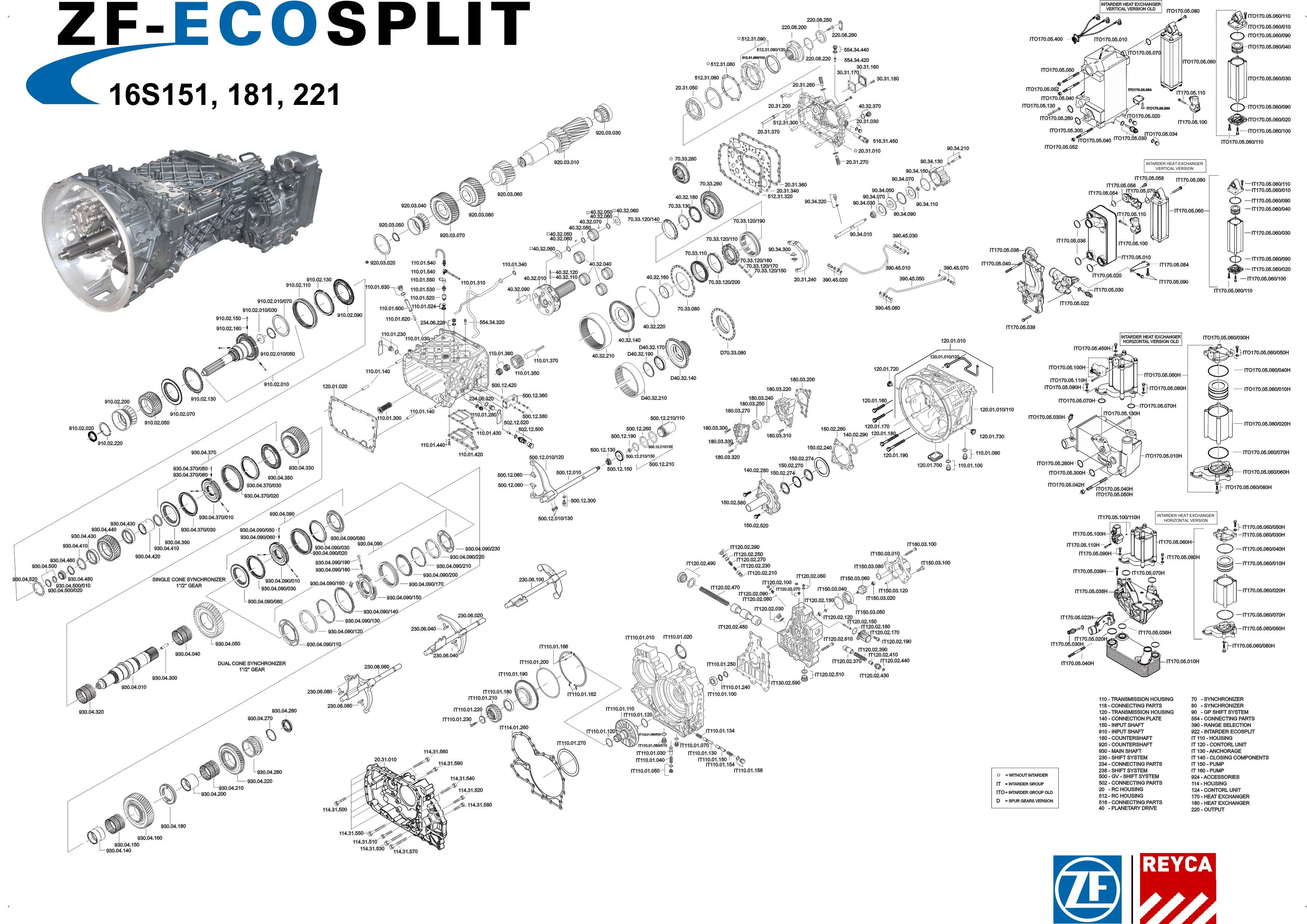 Zf Spare Parts For Trucks And Buses Transmission Parts