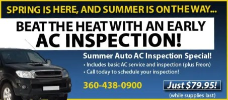 Auto AC inspection in Olympia & Lacey WA, auto air conditioning inspection
