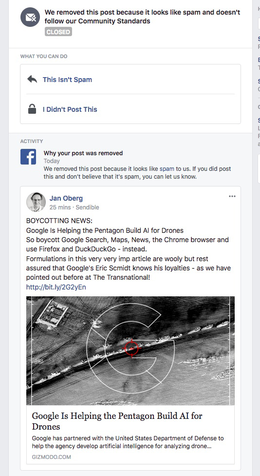 Dislike! Facebook bans article about Google working with