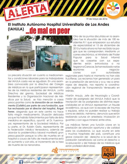 Languidece el Instituto Autónomo Hospital Universitario de Los Andes