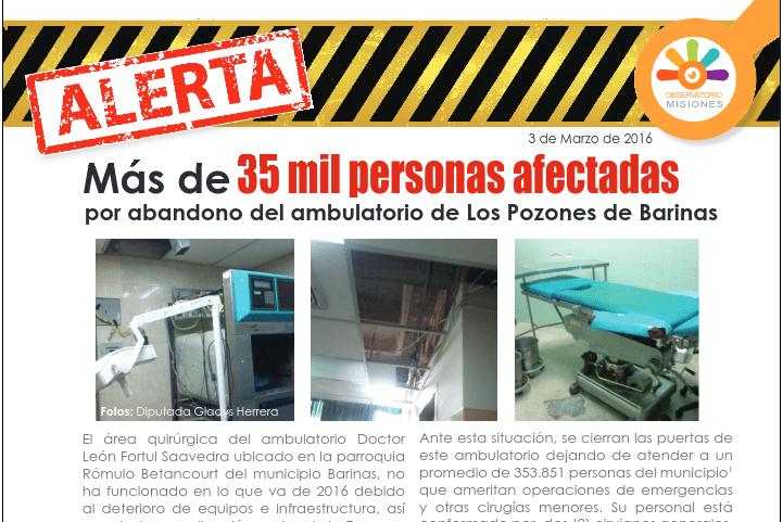 Abandono de ambulatorio Los Pozones deja a 35 mil personas sin acceso a la salud
