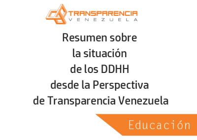 Resumen sobre la situación de la Educación desde la Perspectiva de Transparencia Venezuela