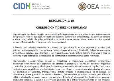 Resolución 1/18 | Corrupción y Derechos Humanos