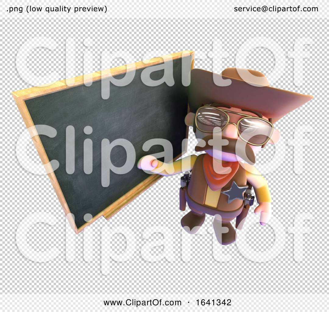 3d Funny Cartoon Cowboy Pointing At The Blackboard By Steve Young