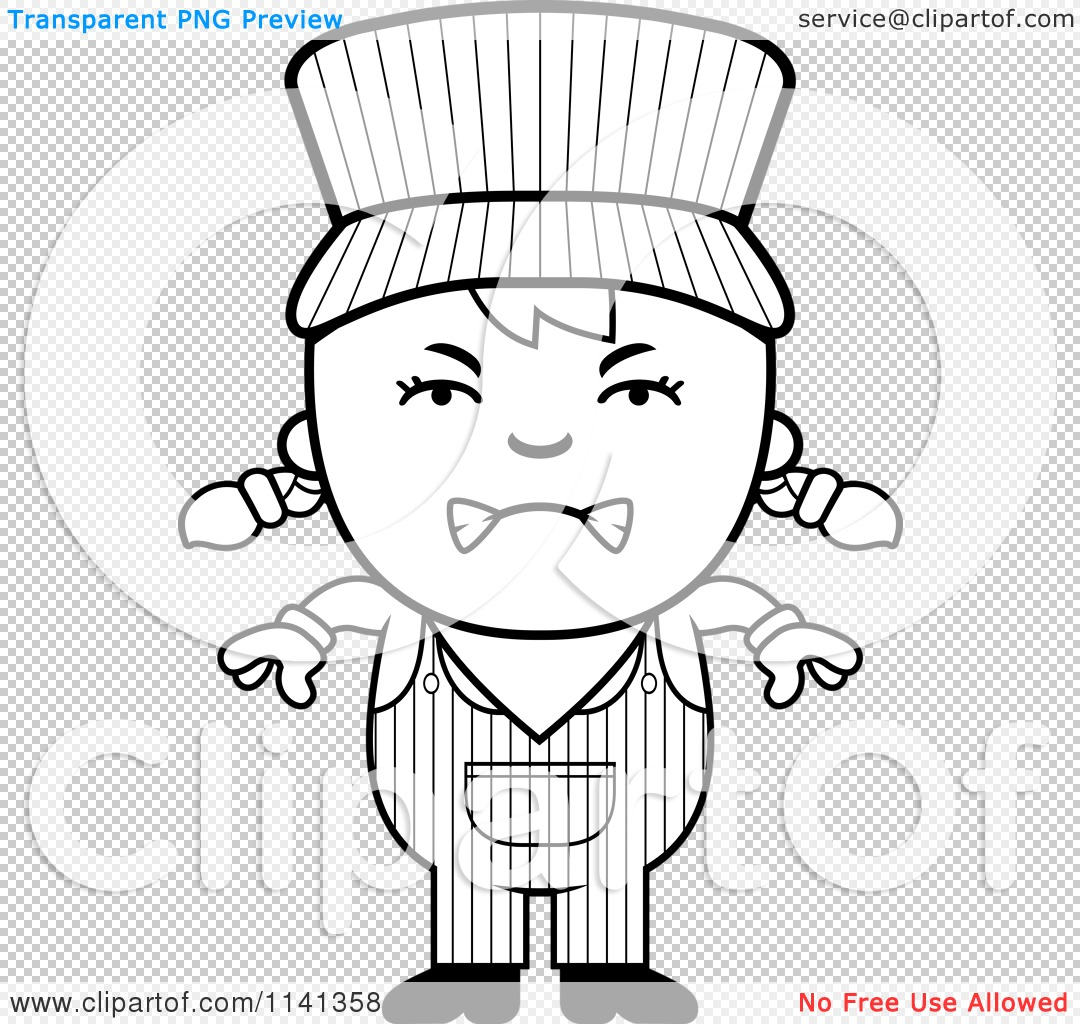 Cartoon Clipart Of A Black And White Angry Train Engineer
