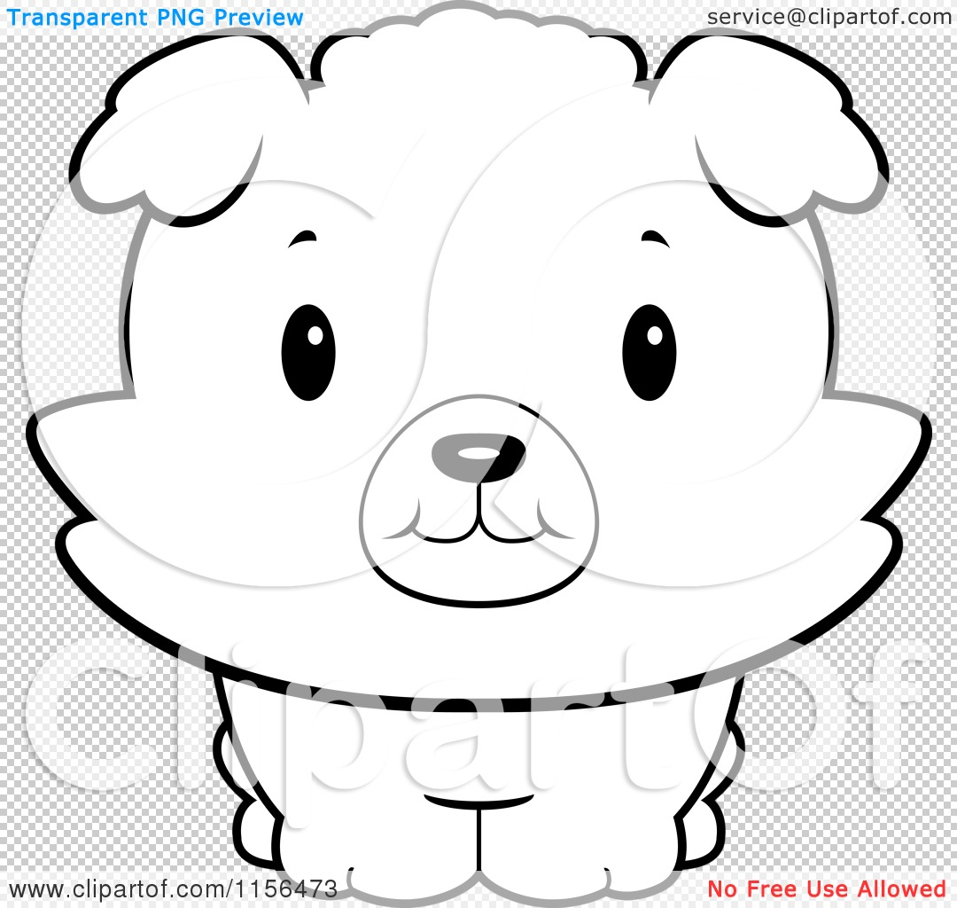 Cartoon Clipart Of A Black And White Baby Bichon Puppy Smiling Upwards