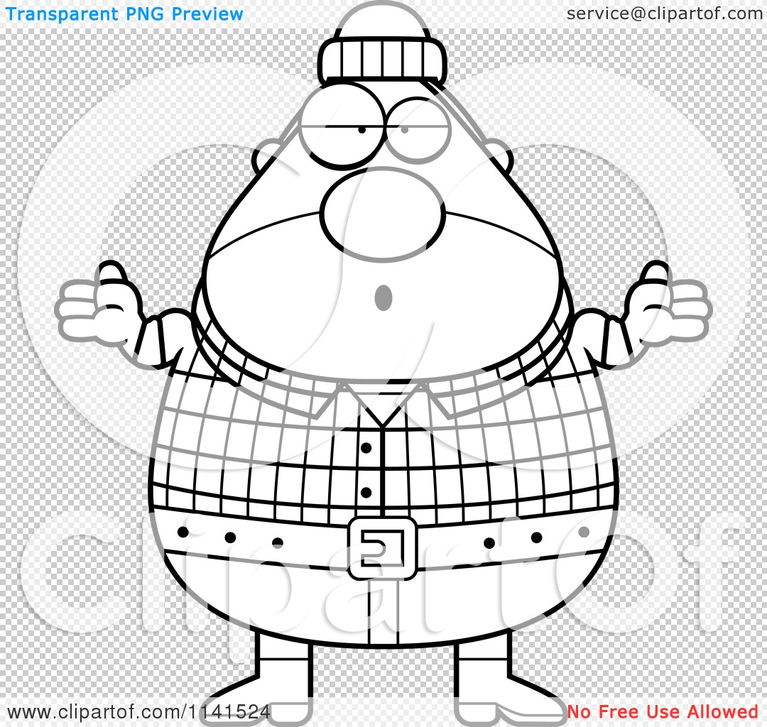 Cartoon Clipart Of A Black And White Careless Shrugging
