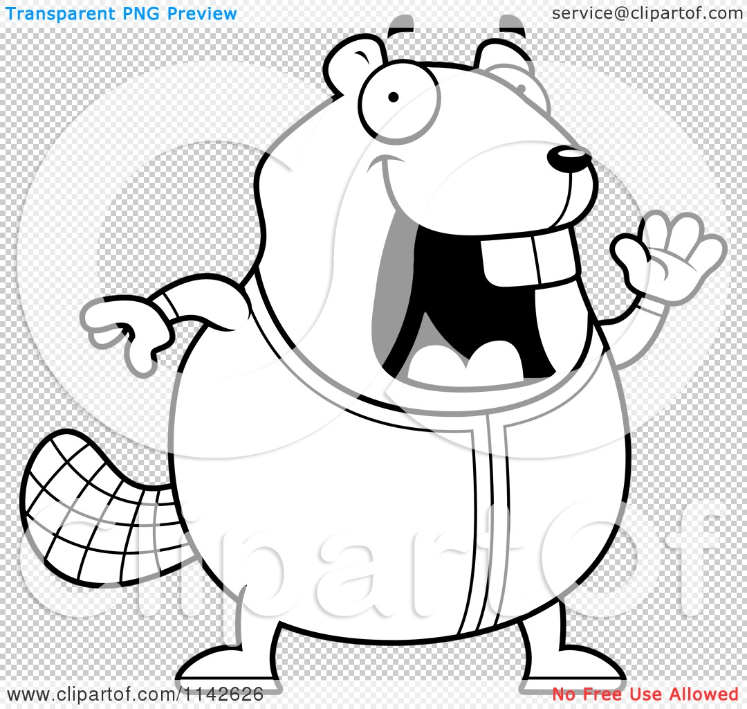 Cartoon Clipart Of A Black And White Chubby Beaver Waving