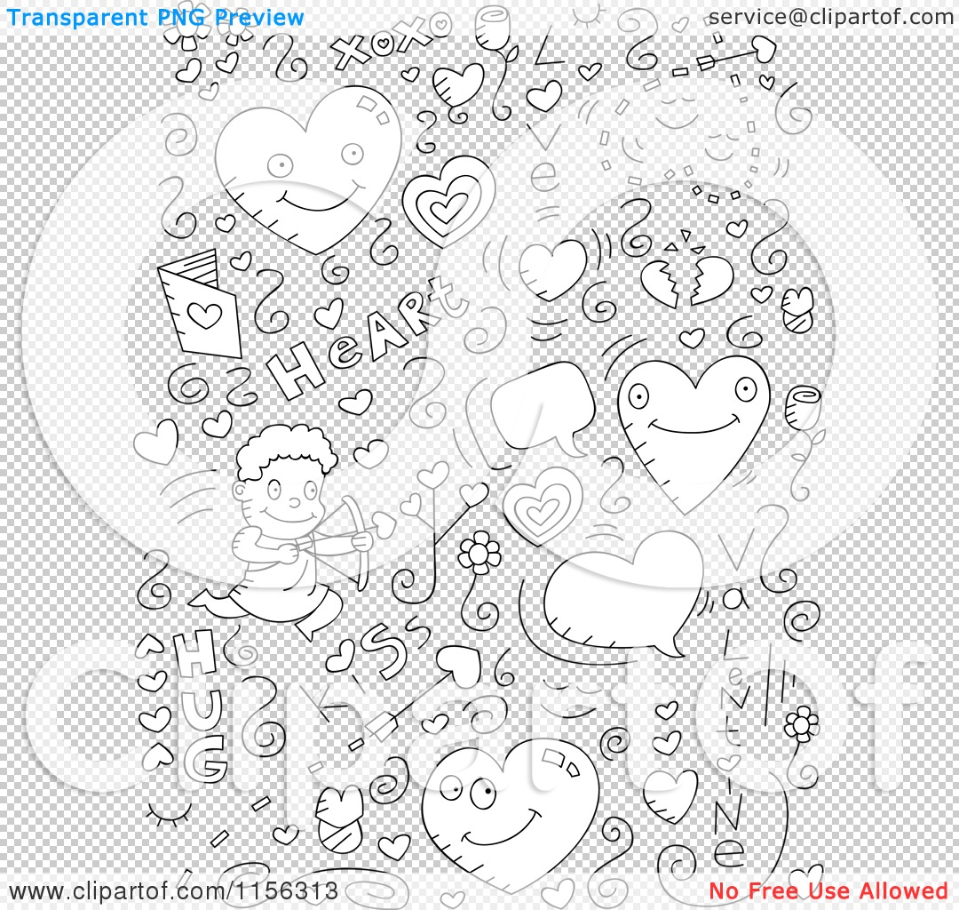 Cartoon Clipart Of A Black And White Collage Of Love