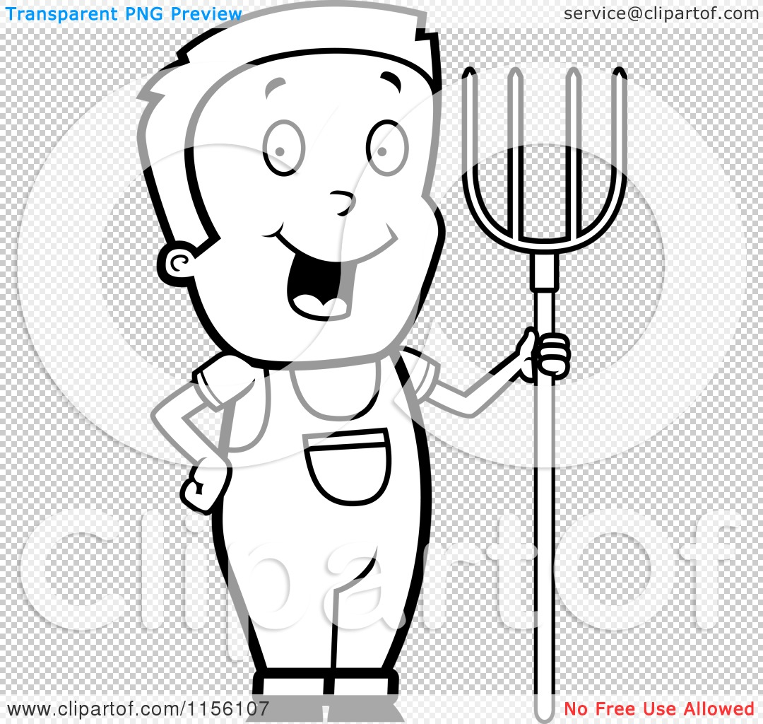 Cartoon Clipart Of A Black And White Farmer Boy With A