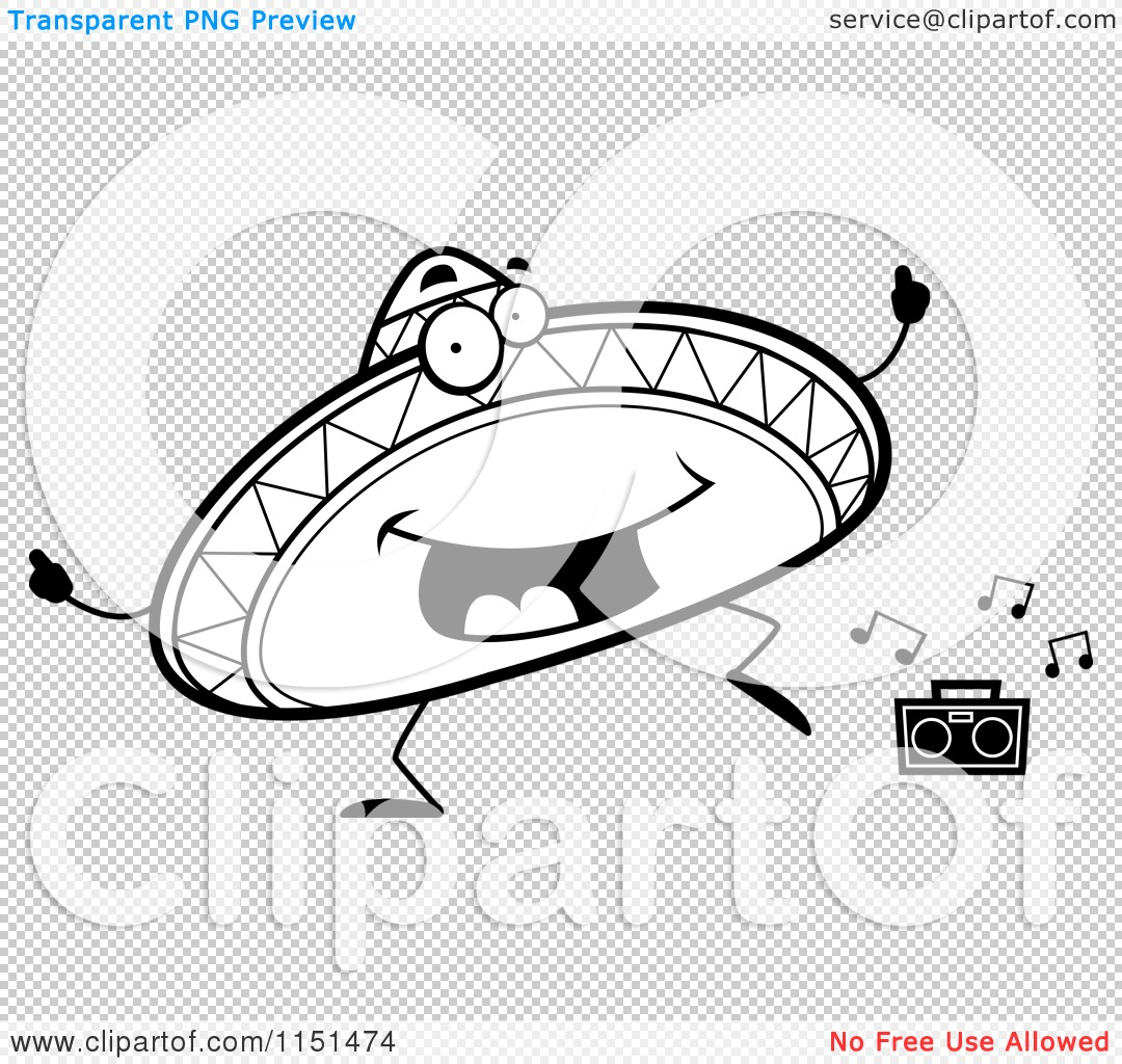Cartoon Clipart Of A Black And White Happy Dancing