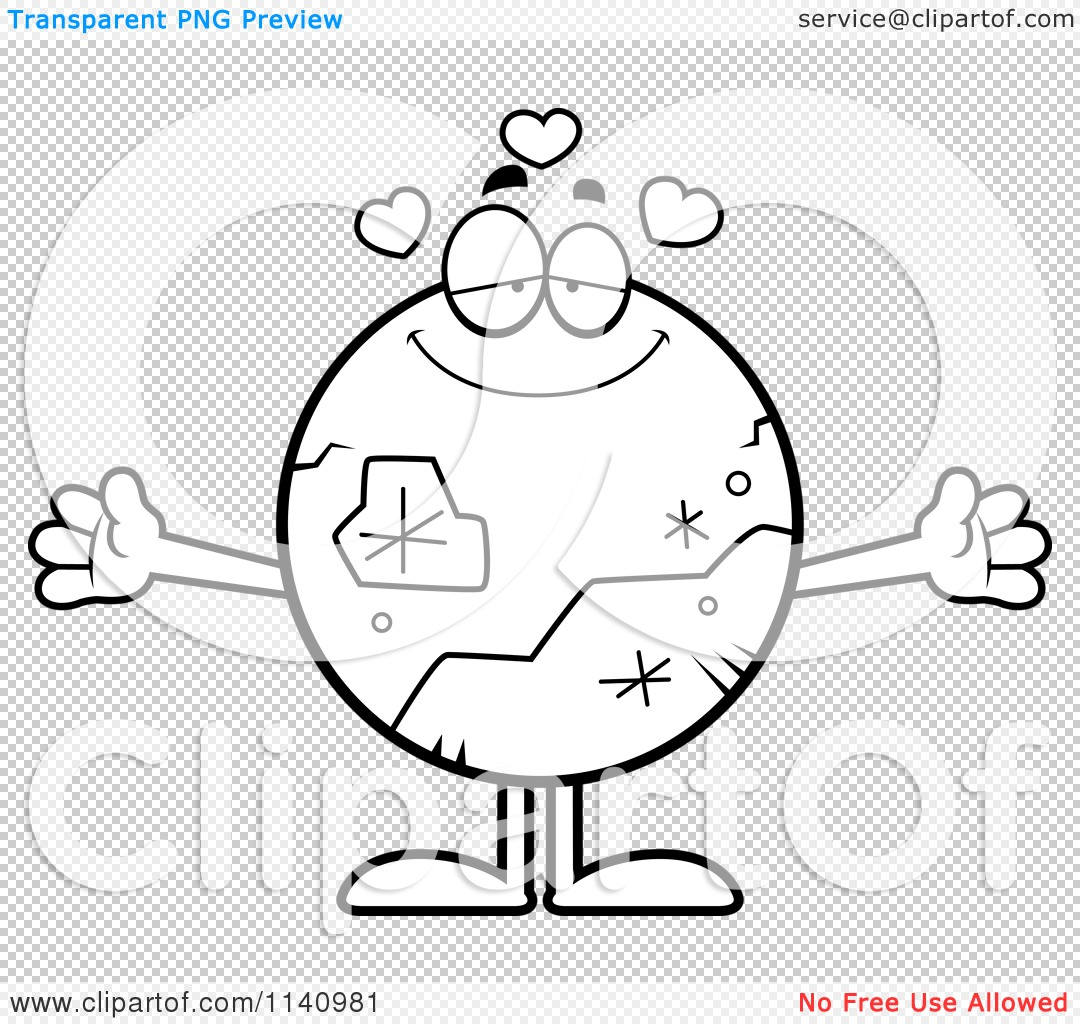 Cartoon Clipart Of A Black And White Loving Pluto