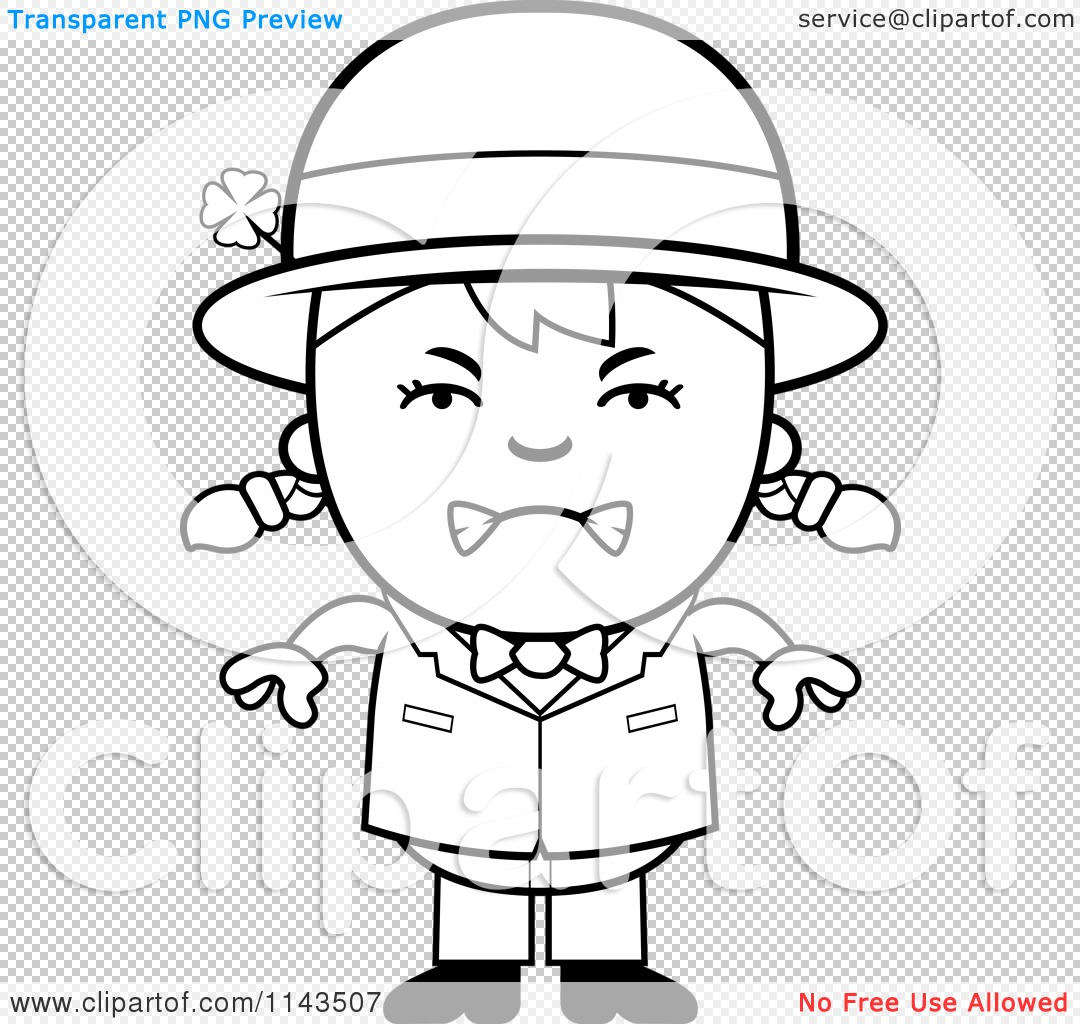 Cartoon Clipart Of A Black And White Mad Child Leprechaun Girl