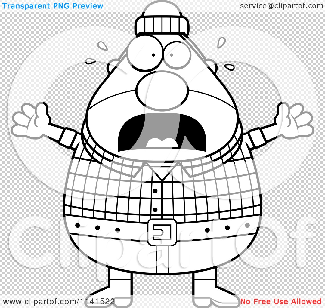 Cartoon Clipart Of A Black And White Panicking Chubby Male