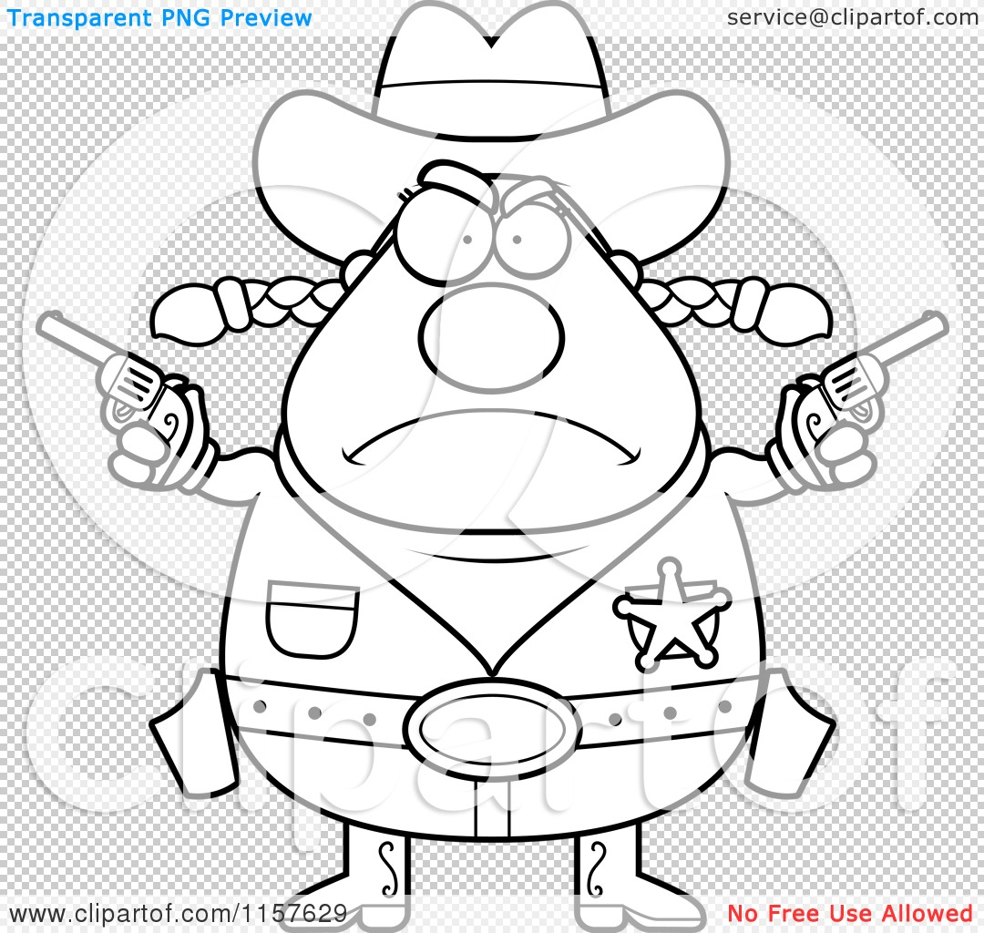 Cartoon Clipart Of A Black And White Plump Angry Cowgirl