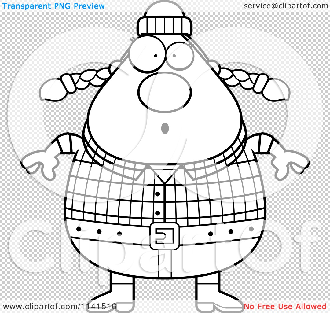 Cartoon Clipart Of A Black And White Surprised Chubby