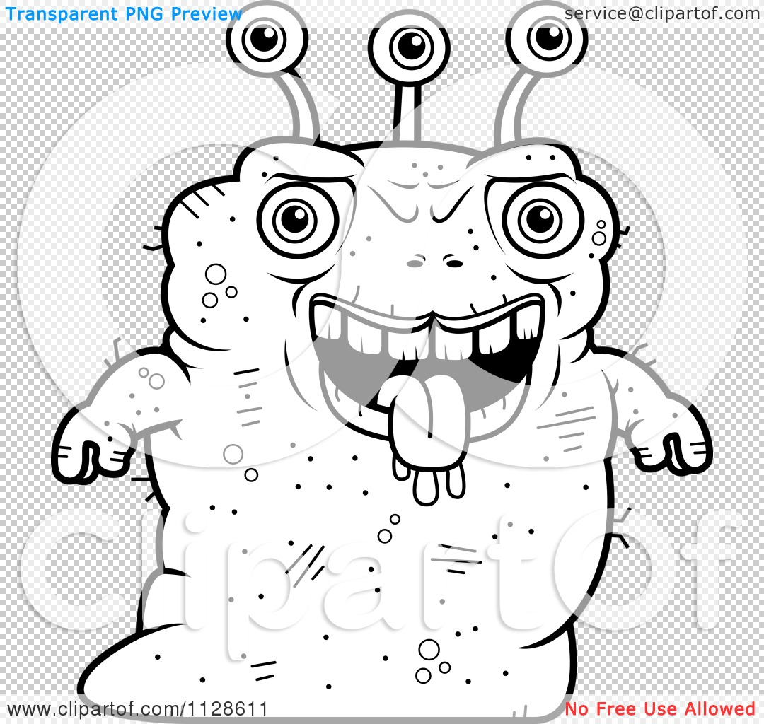 Cartoon Clipart Of An Ugly Alien