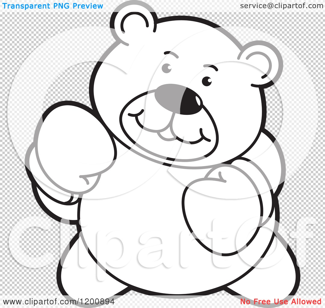 Cartoon Of A Black And White Boxing Teddy Bear