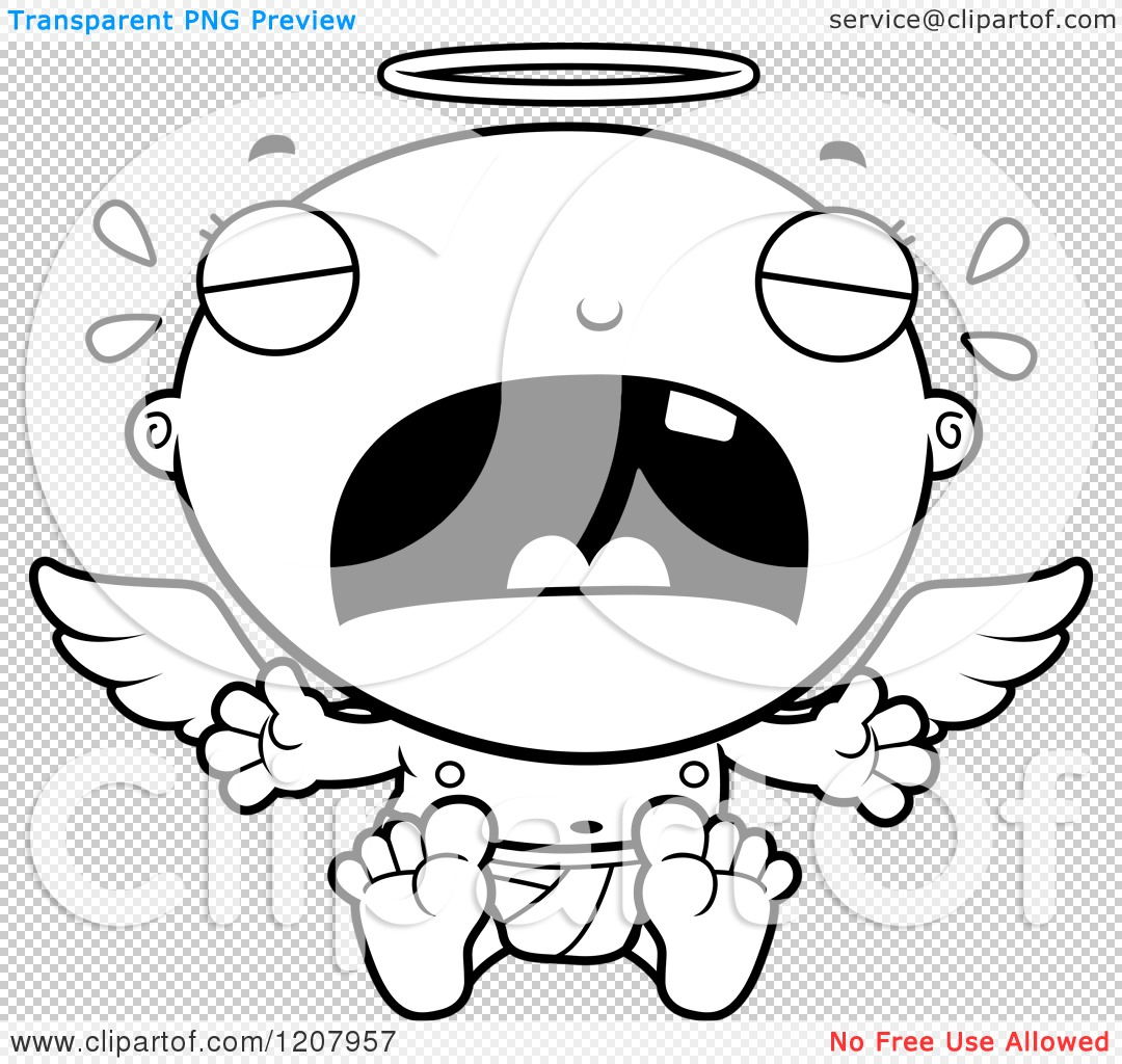 Cartoon Of A Black And White Crying Baby Infant Angel
