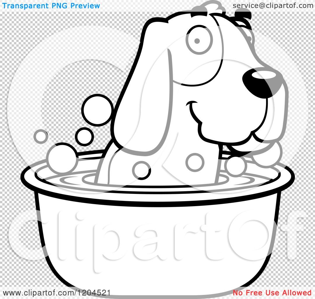 Cartoon Of A Black And White Cute Hound Dog Taking A Bath