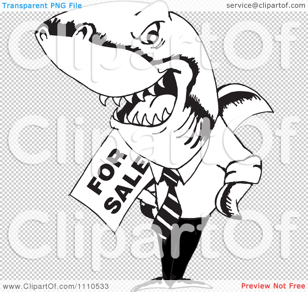 Clipart Black And White Realtor Shark Holding A For Sale