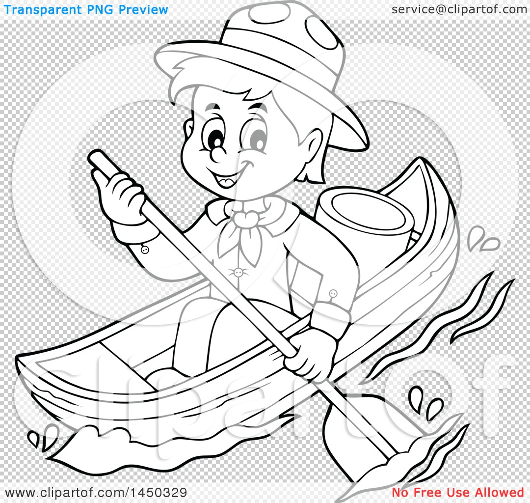Clipart Graphic Of A Black And White Lineart Happy Scout