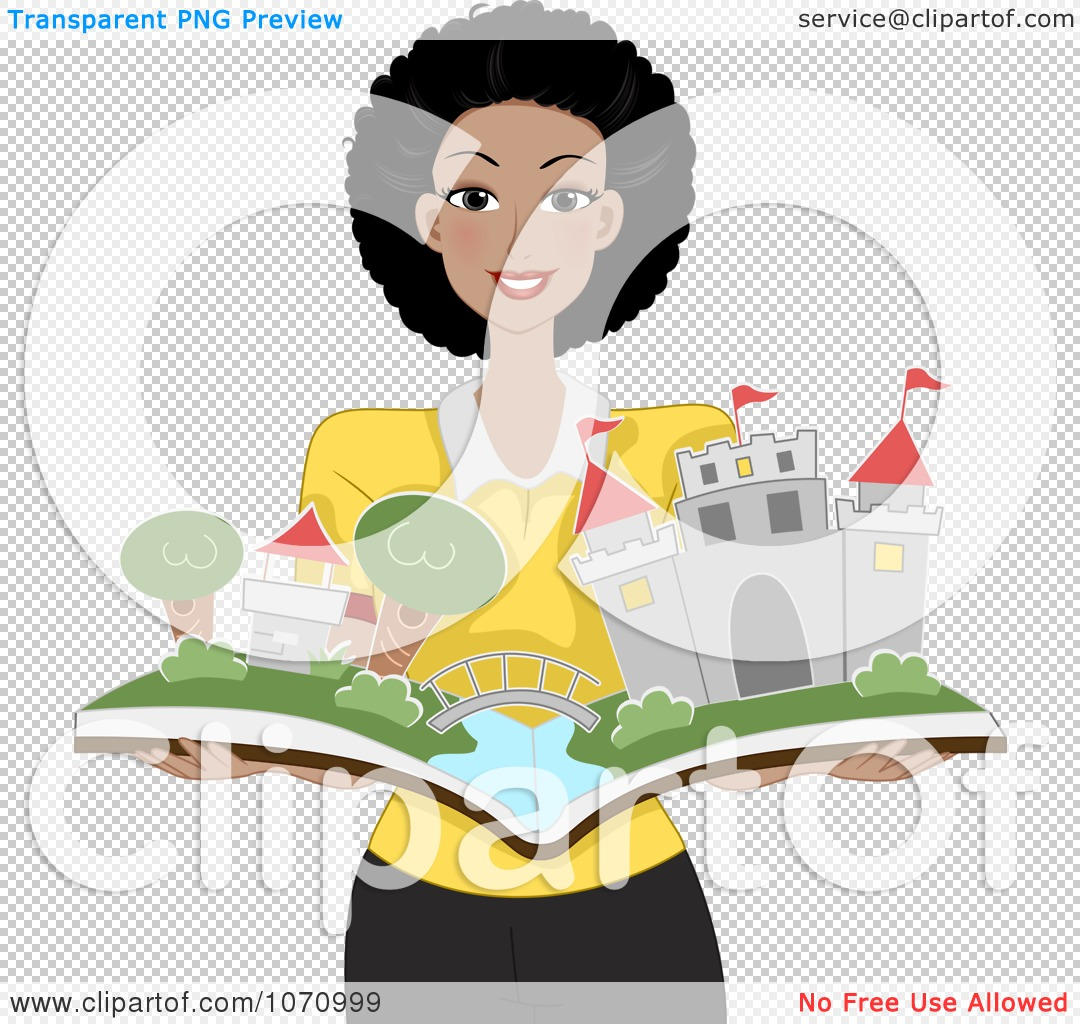 Clipart Happy Black Female Teacher Holding A Pop Up Story Book With A Castle