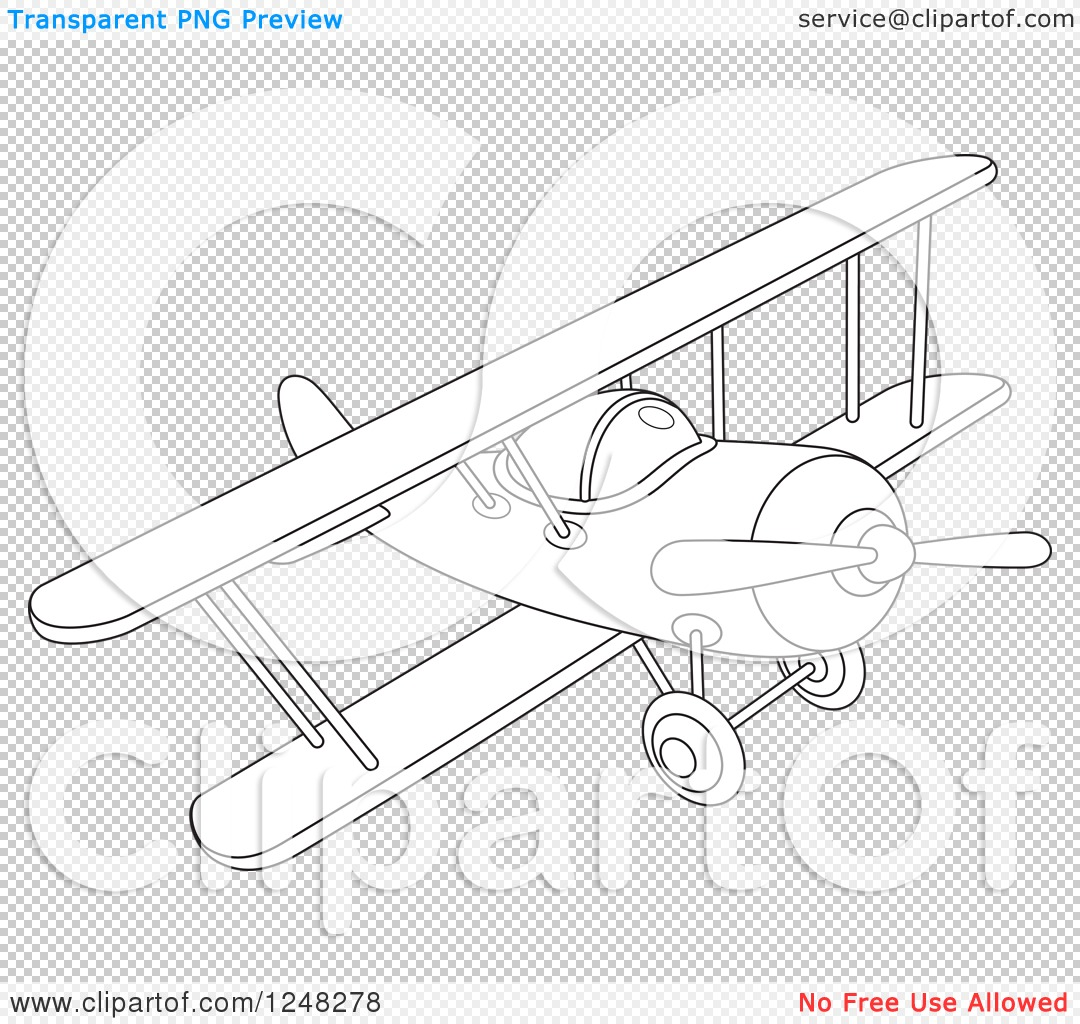 Clipart Of A Black And White Biplane Flying