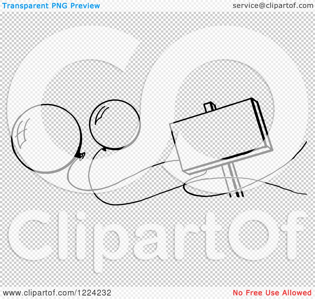 Clipart Of A Black And White Blank Sign And Party Balloons