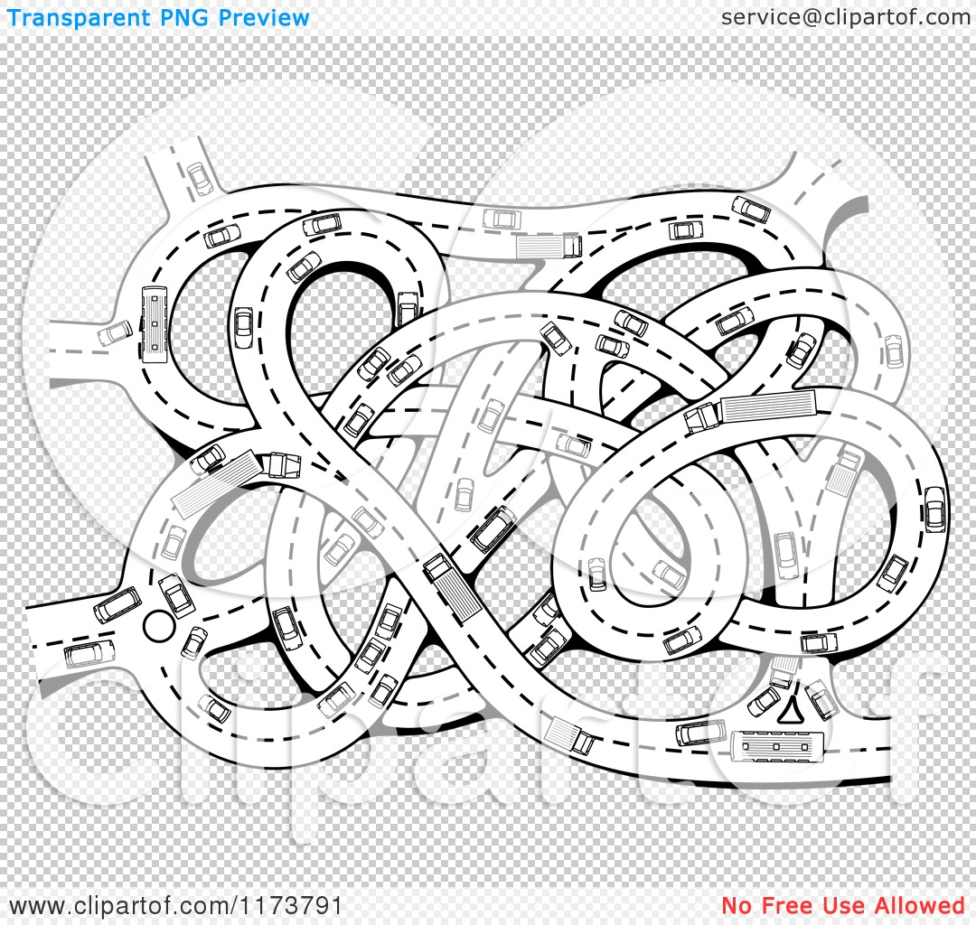 Clipart Of A Black And White Busy Highway Junction With