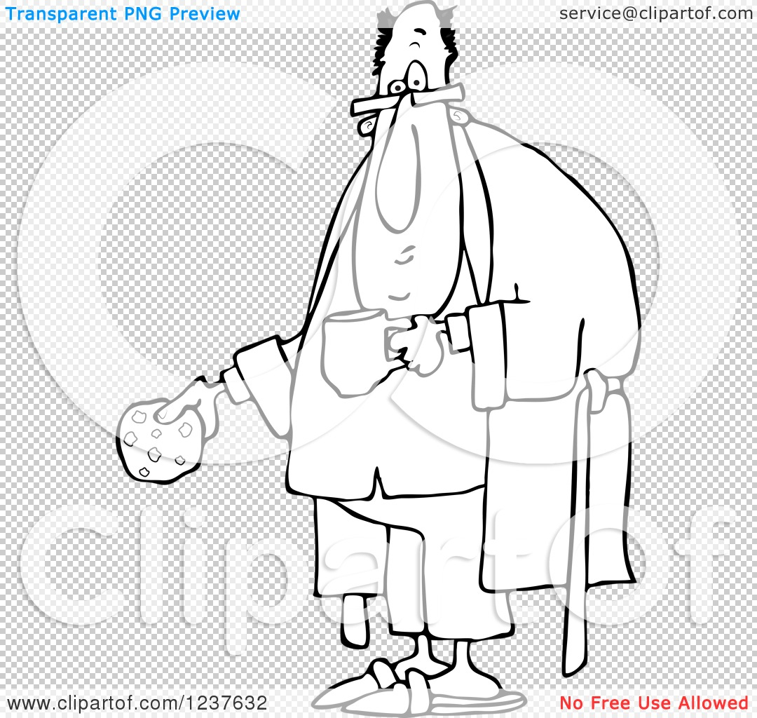 Clipart Of A Black And White Chubby Man With A Cookie