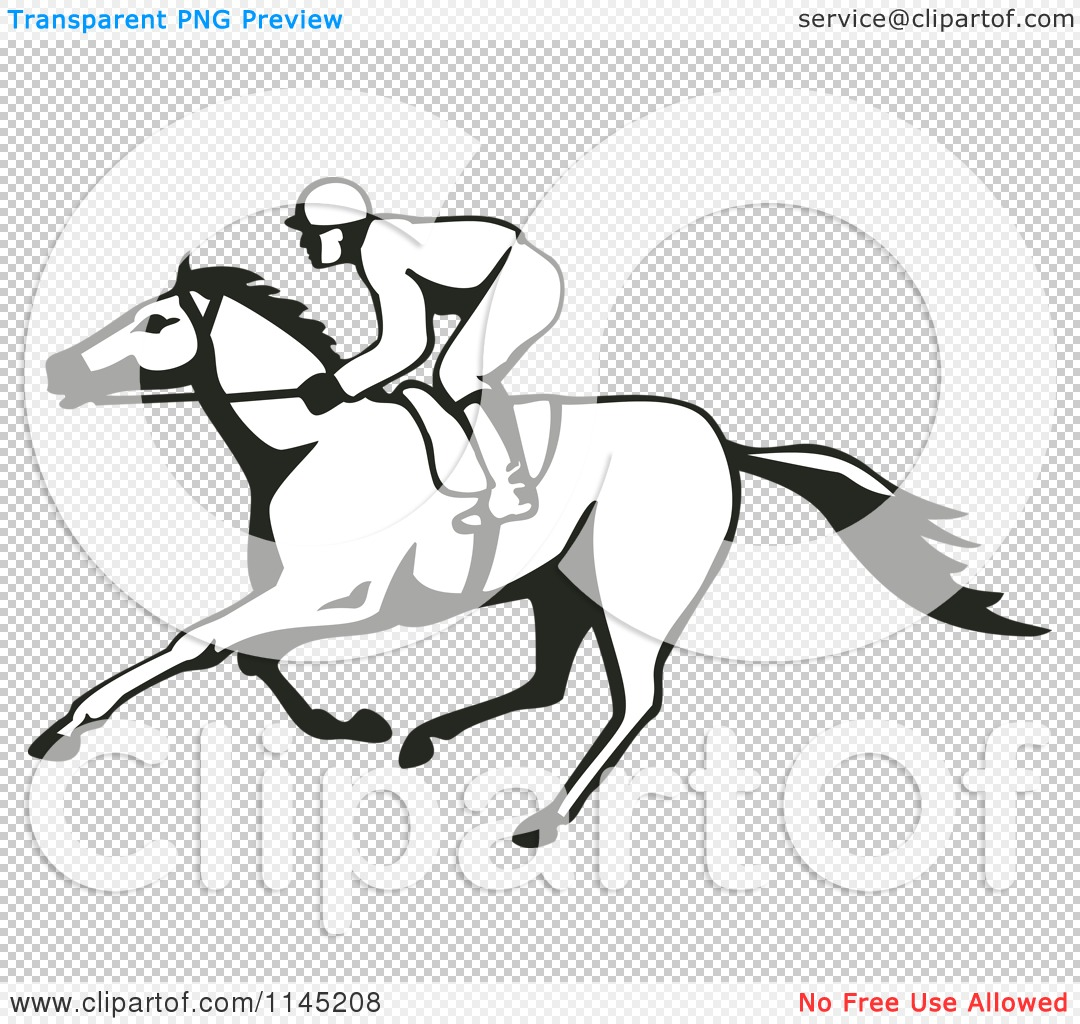 Clipart Of A Black And White Derby Horse Race Jockey