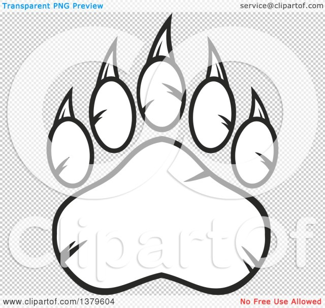 Clipart of a Black and White Grizzly Bear Paw - Royalty Free