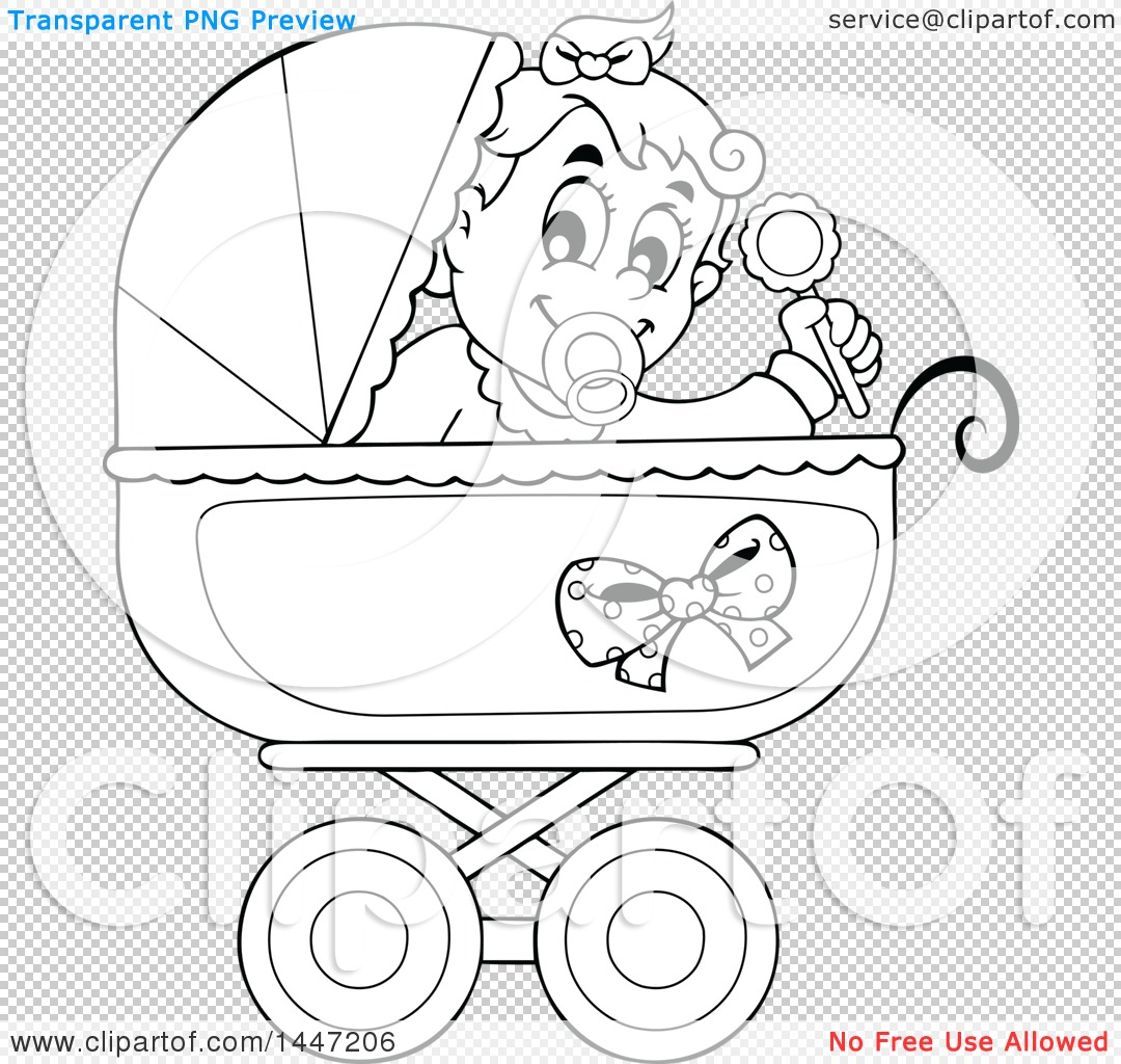 Clipart Of A Black And White Lineart Baby Girl Playing