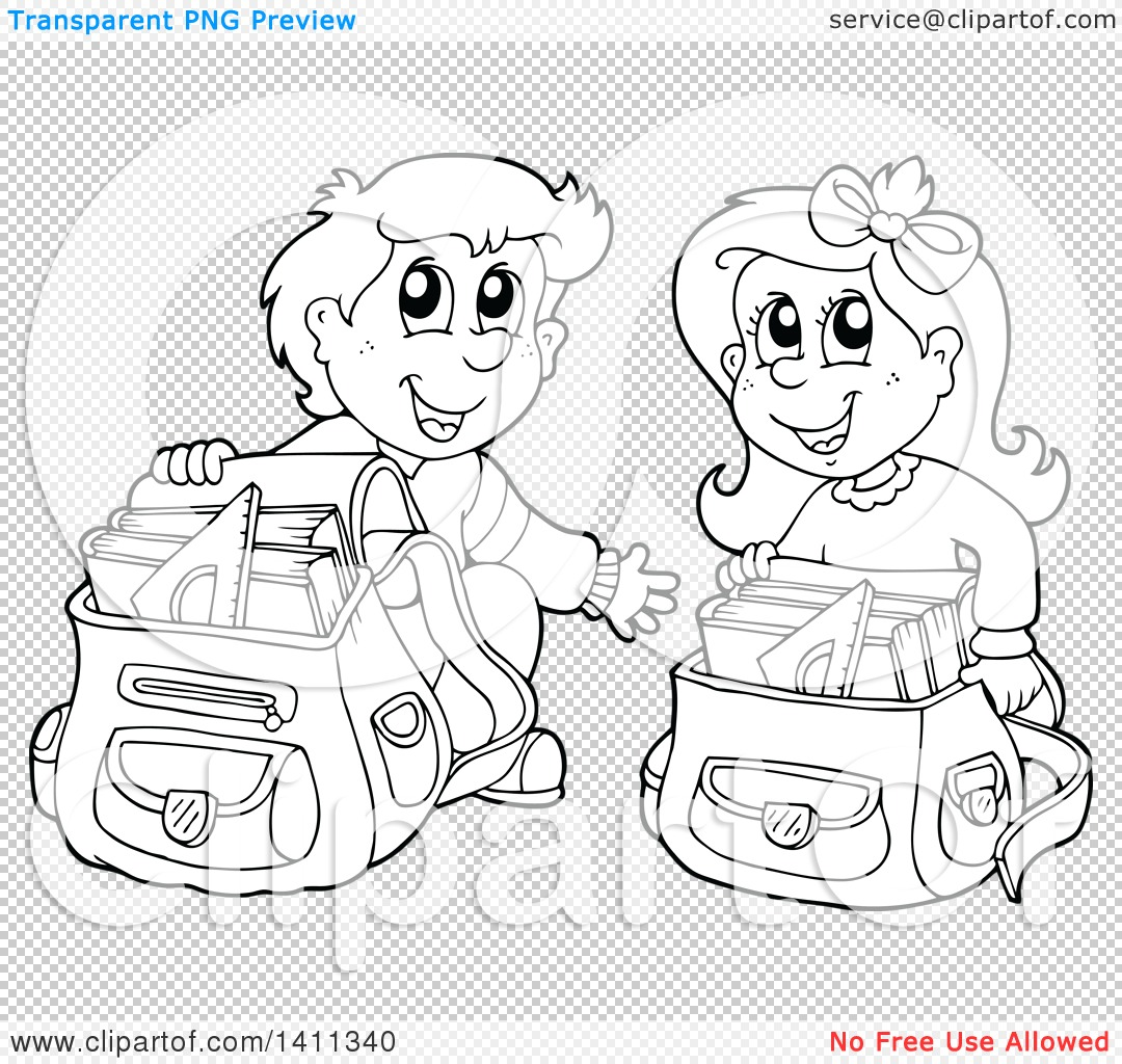 Clipart Of A Black And White Lineart School Boy And Girl