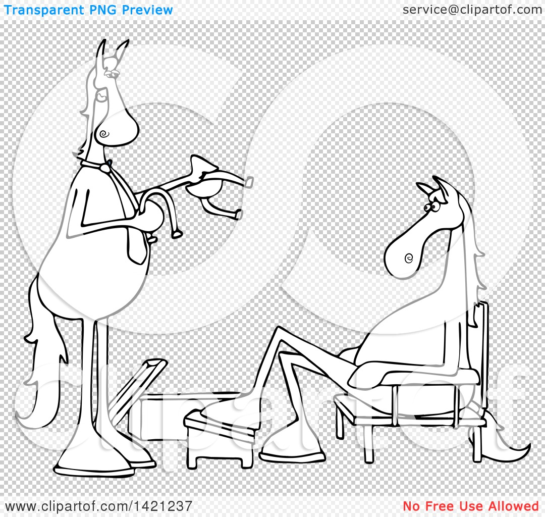 Clipart Of A Cartoon Black And White Lineart Salesman And Horse Trying On Shoes